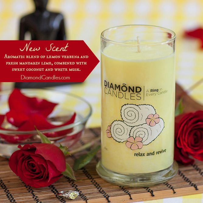 """NEW CANDLE SCENT: Relax & Revive. It's an aromatherapy like fragrance. """"Fresh"""" doesn't even begin to do this scent justice; it's a favorite for guest rooms and master suites alike. It features a lively combination of lemon verbena and fresh mandarin lime, combined with sweet coconut and white musk. $24.95"""