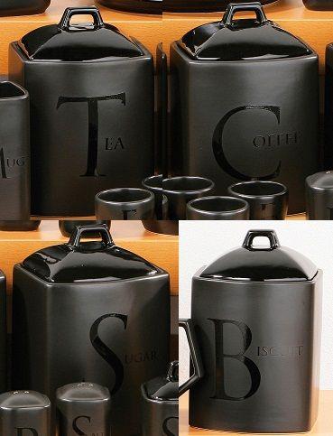 Set of 4 Black Text Ceramic Tea Coffee Sugar Biscuit Canister Storage Jars