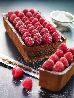 Chocolate almond pie with dark chocolate truffle and raspberry