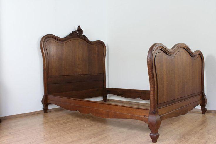 Son120 antikes Bett um 1900 Historismus Frankreich Eichenholz 130x200