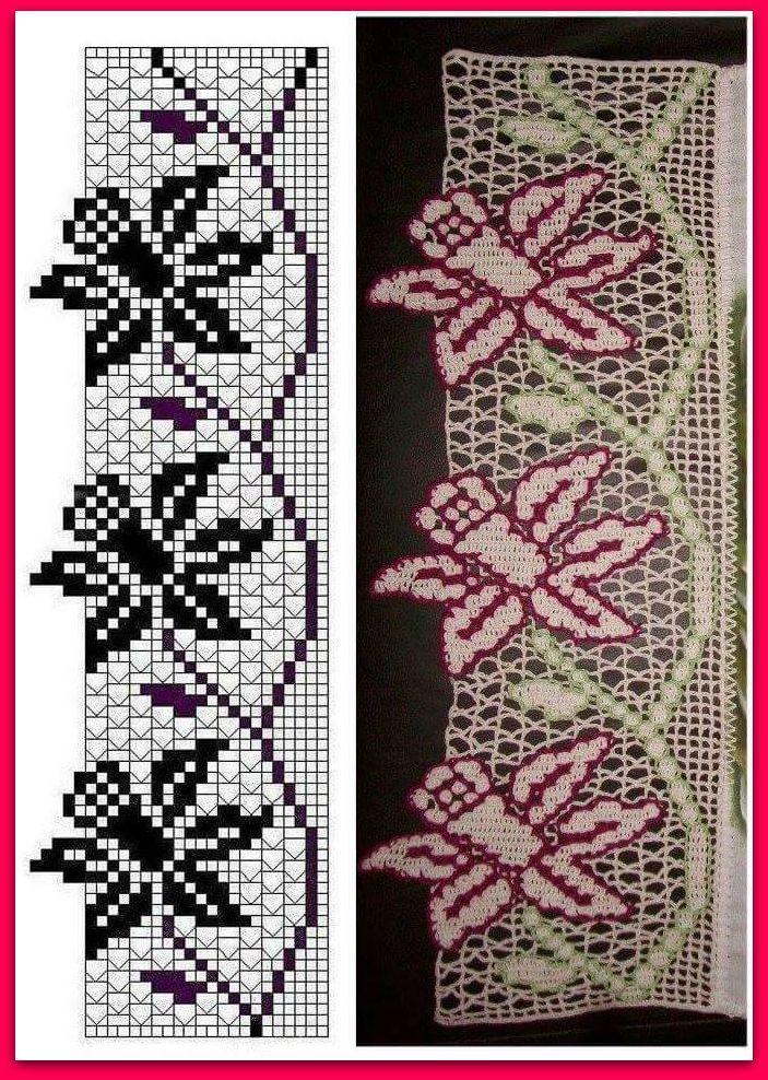 Bordura con fiori a filet   Buongiorno a tutti! Ecco un altro schema preso dal web tutto per voi! Questa volta vi propongo un bordo con fio...