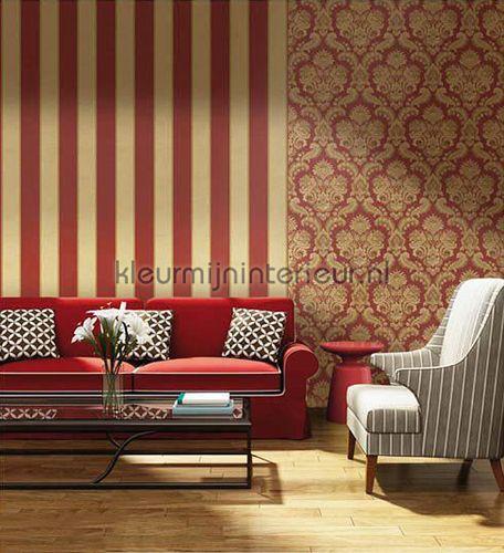 Brocante rood - goud behang 8048, Vintage van Noordwand