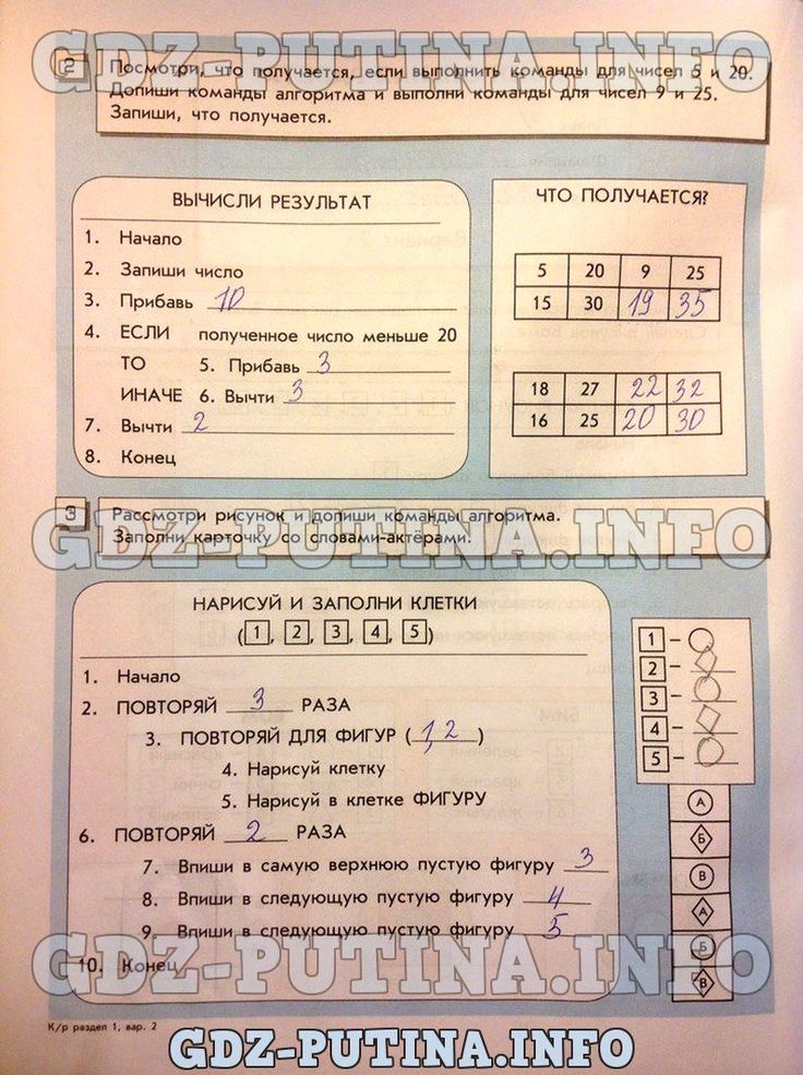 Справочник ответов по информатике 4 класс горячев 1 часть