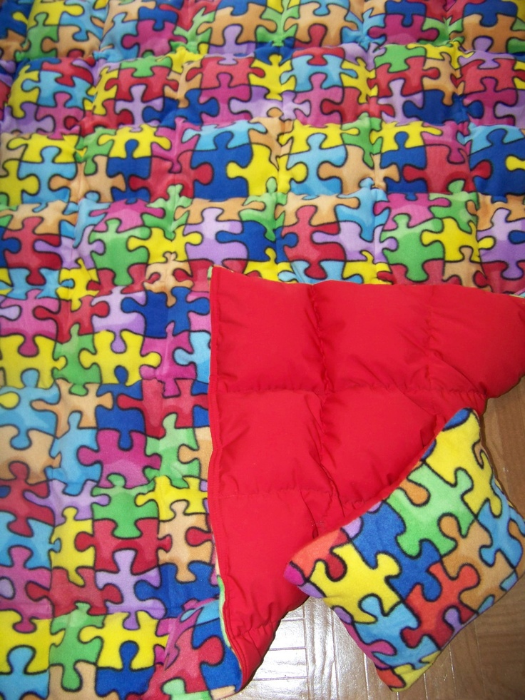 8 pd Autism Awareness Puzzle print Fleece/Cotton Weighted Blanket Autism Adhd Insomnia. $149.99, via Etsy.