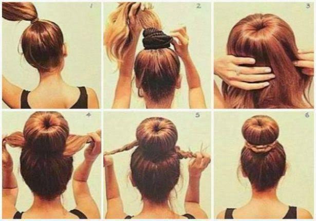 3 peinados para la flojera: Chongo alto  Primero hazte una colita de cabello alta con una liga delgada, envuelve con una dona muy ancha y utiliza el volumen para tener el molde de tu chongo; lo demás es muy sencillo, solamente maneja tu melena para cubrir toda la dona de cabello y sujeta con pasadores si tu cabello es muy rebelde; el exceso de cabellera trénzalas y utilízalas para decorar tu chongo para darle un toque 'sweet' a tu peinado.