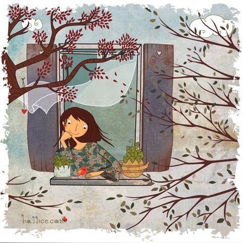 '...pencere önü çiçeğine, ne ansızın yağmur ne gökkuşağı...'