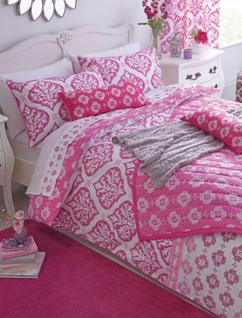 Hot Indian pink  Recreate an Indian style in your bedroom with a strong pattern like this lovely bedlinen set. This would look lovely in a white room with a deep pink feature wall or in a room where all the walls are painted pale pink. Ikat bedlinen from Next.