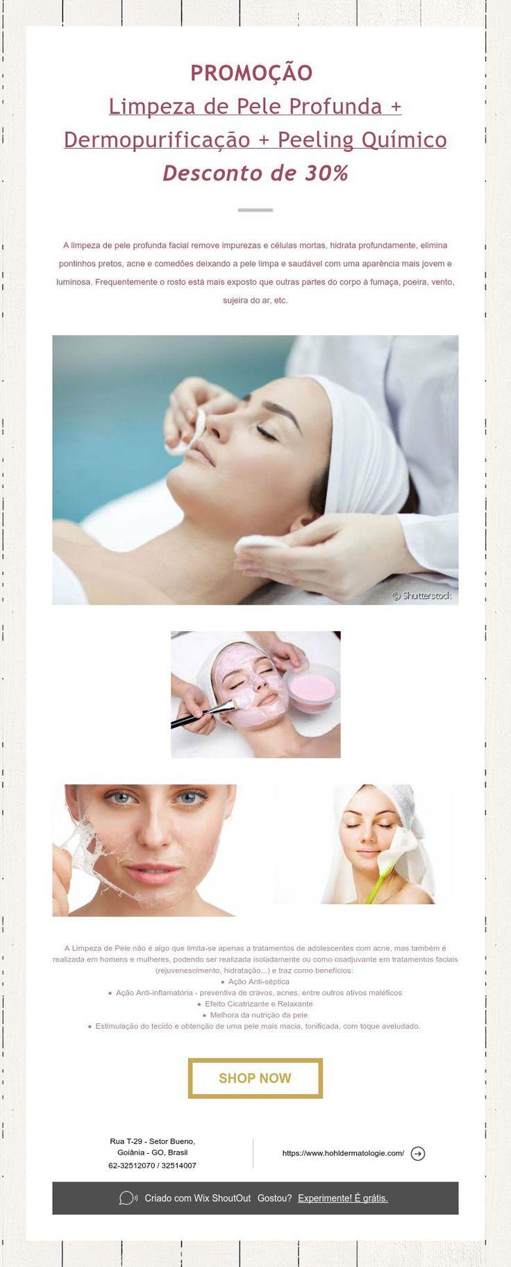 PROMOÇÃO  Limpeza de Pele Profunda + Dermopurificação + Peeling Químico  Desconto de 30%