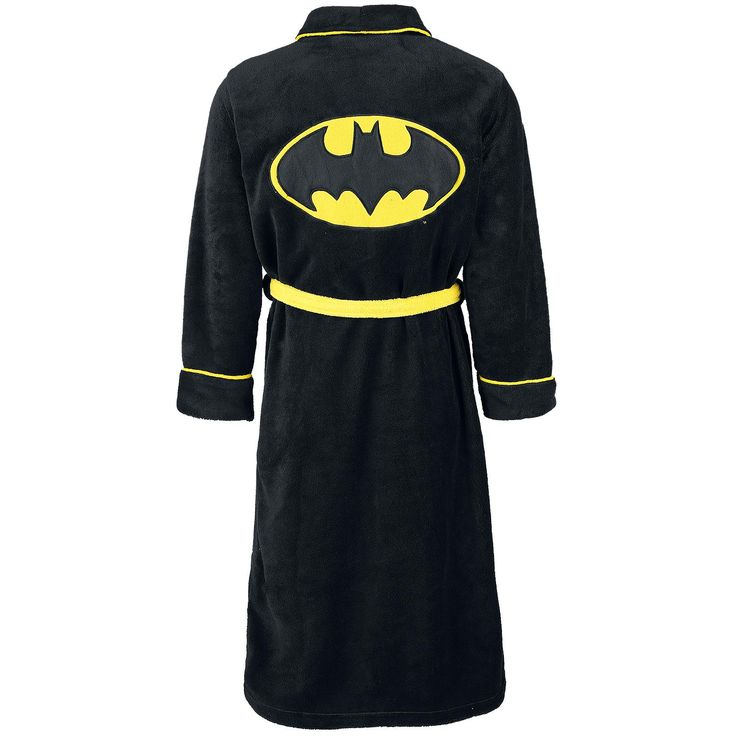 """Vestaglia """"Logo"""" di #Batman nera con logo del supereroe ricamato su fronte e retro, 2 tasche laterali e cintura gialla. Lunghezza schiena: 123 cm circa."""