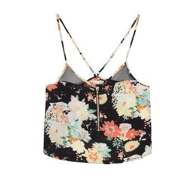 Flower print top with zipper