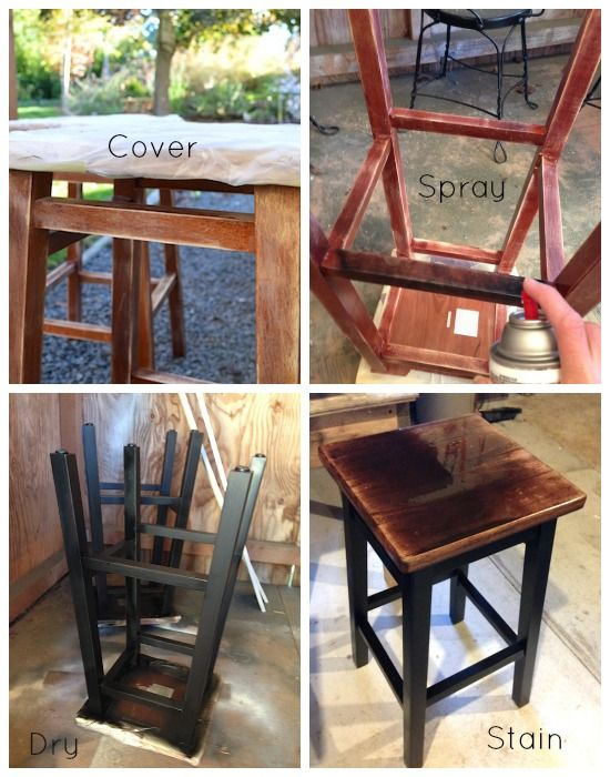 Bar Stool Makeover: Paint and Stain :: An Oregon Cottage