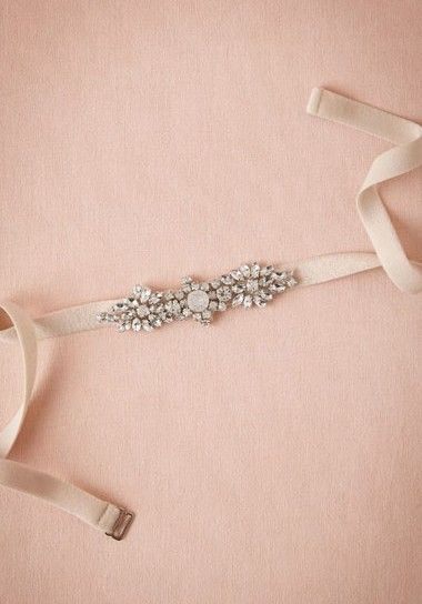 Such a pretty, sparkly belt to pair with your wedding gown!