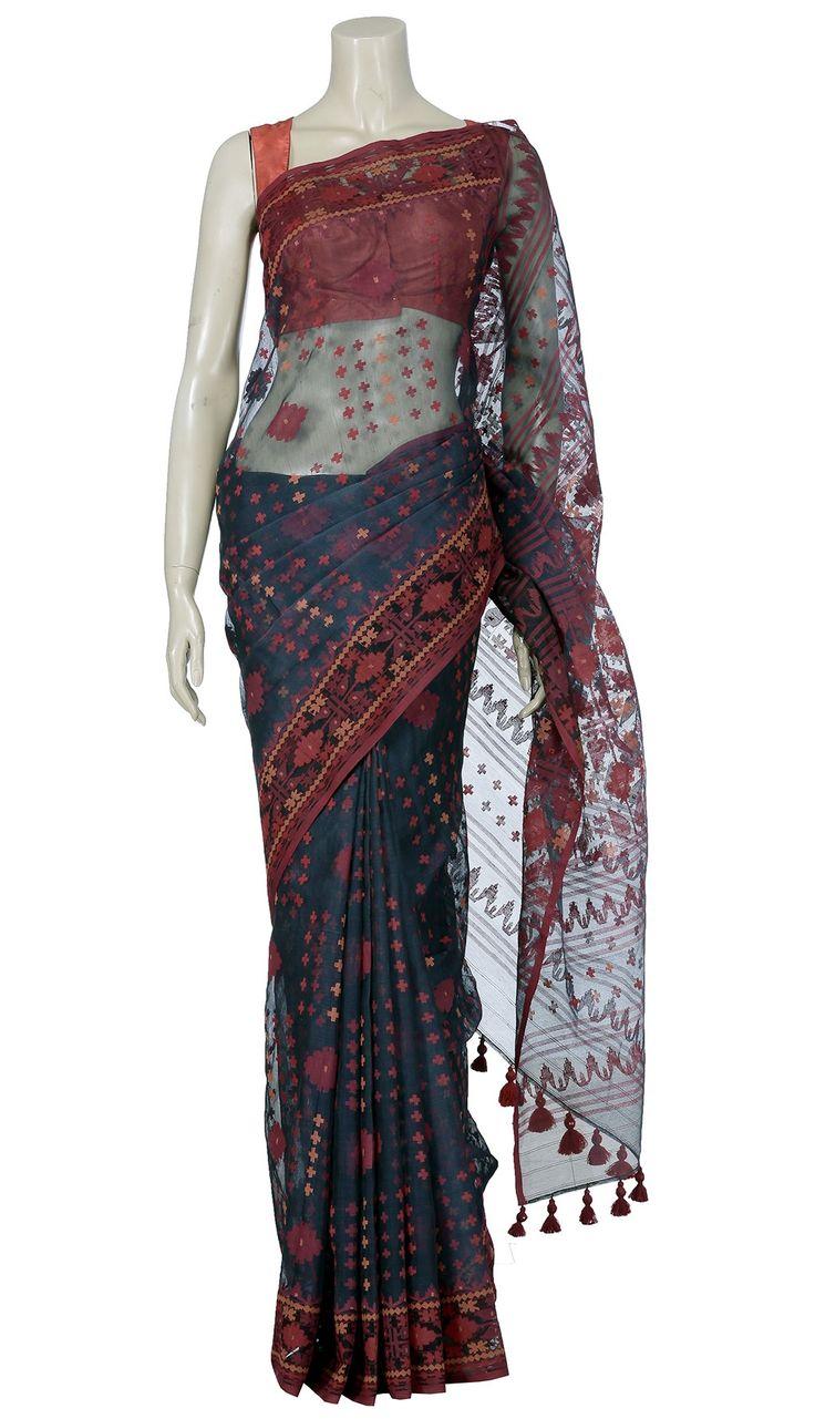Muslin Festival - Midnight Blue and Red Half-Silk Jamdani Saree