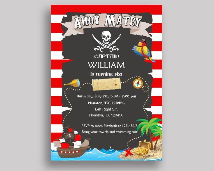 Pirate Birthday Invitation Pirate Birthday Party Invitation Pirate Birthday Party Pirate Invitation Boy pirate ship, ahoy matey INGIO - Digital Product #birthdayInvitations #birthdayParty #birthdayPartyInvitations