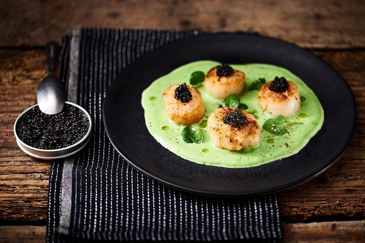 On fond pour ces noix de Saint-Jacques snackées, émulsion de cresson et caviar :)   >> http://www.atelierpoisson.fr/recettes/noix-de-saint-jacques-snackees-emulsion-de-cresson-caviar/