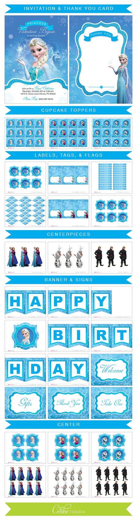 Frozen Cupcake Toppers Invitation Frozen by CreativeTouchhh