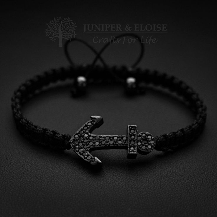 Anchor Bracelet, Black Onyx Bracelet, 925 Silver Anchor charm, Bracelet For Men, Nautical Jewellery, Braccialetto, Pulsera, Armband by JuniperandEloise on Etsy
