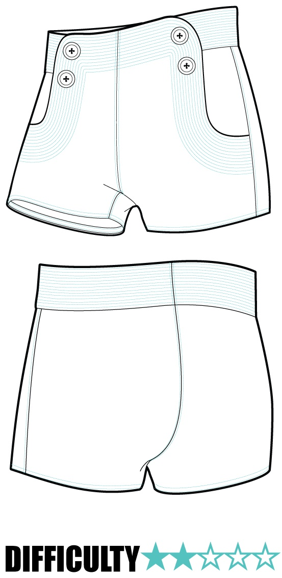Fantastic Hot Pants Sewing Pattern Component - Easy Scarf Knitting ...