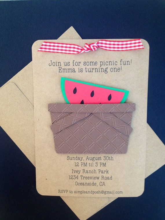 Picnic Basket and Watermelon with Ribbon Handmade by SimpleandPosh
