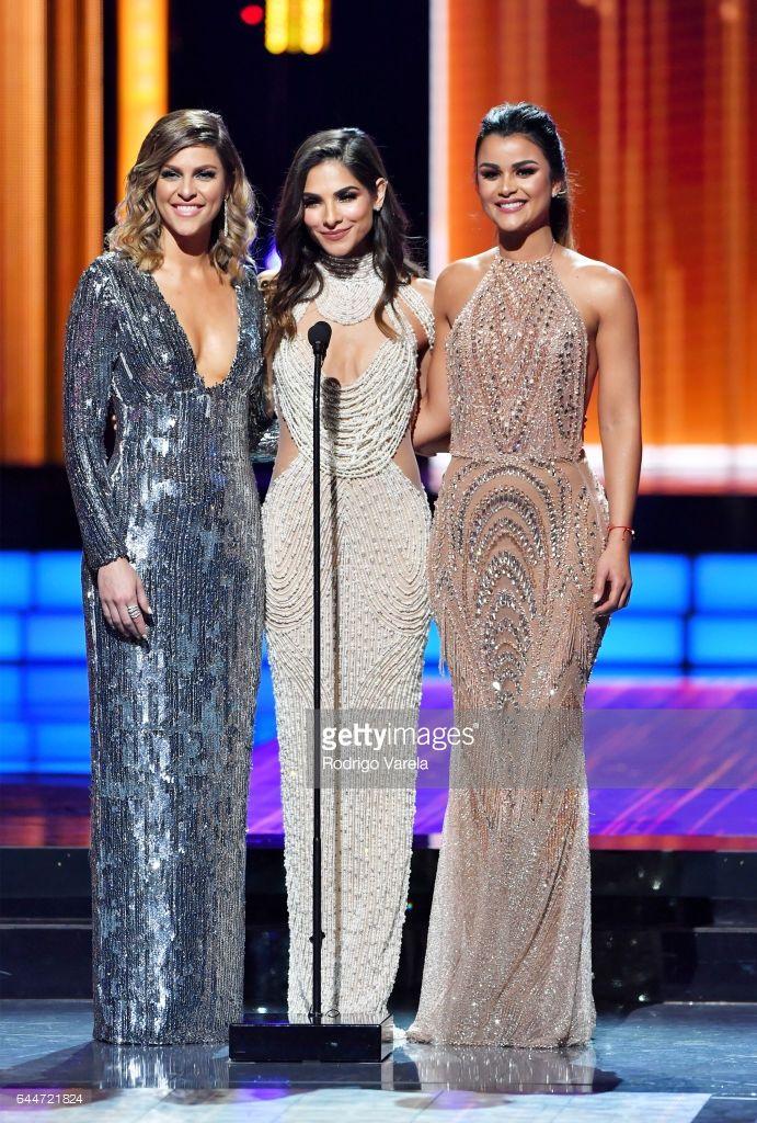 Model Daniela Di Giacomo, Alejandra Espinoza and Clarissa Molina present an award onstage Univision's 29th Edition of Premio Lo Nuestro A La Musica Latina at the American Airlines Arena on February 23, 2017 in Miami, Florida.
