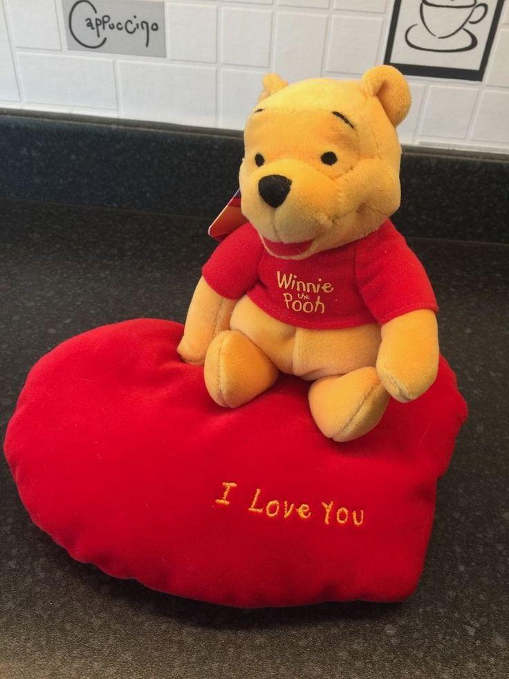 "Disney Winnie The Pooh - Pooh on red heart cushion 8"" - RARE #WaltDisney"
