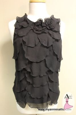 Ann Taylor sleeveless blouse, size XSMALL Black, Silk NEW WITH TAGS $10.00