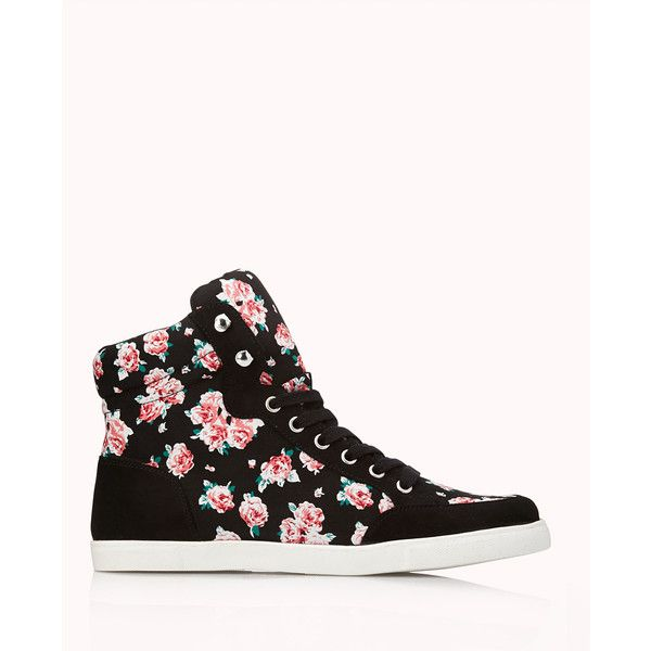 Forever 21 Women's  Pretty-Tough Floral High-Tops (1,995 INR) ❤ liked on Polyvore featuring shoes, sneakers, flats, zapatos, forever 21 flats, high top sneakers, flat shoes, high top shoes and forever 21 shoes