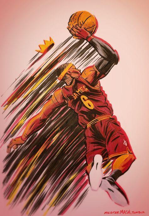 LeBron James & # 39; Cleveland King & # 39; Kunst – Hooped Up   – sad