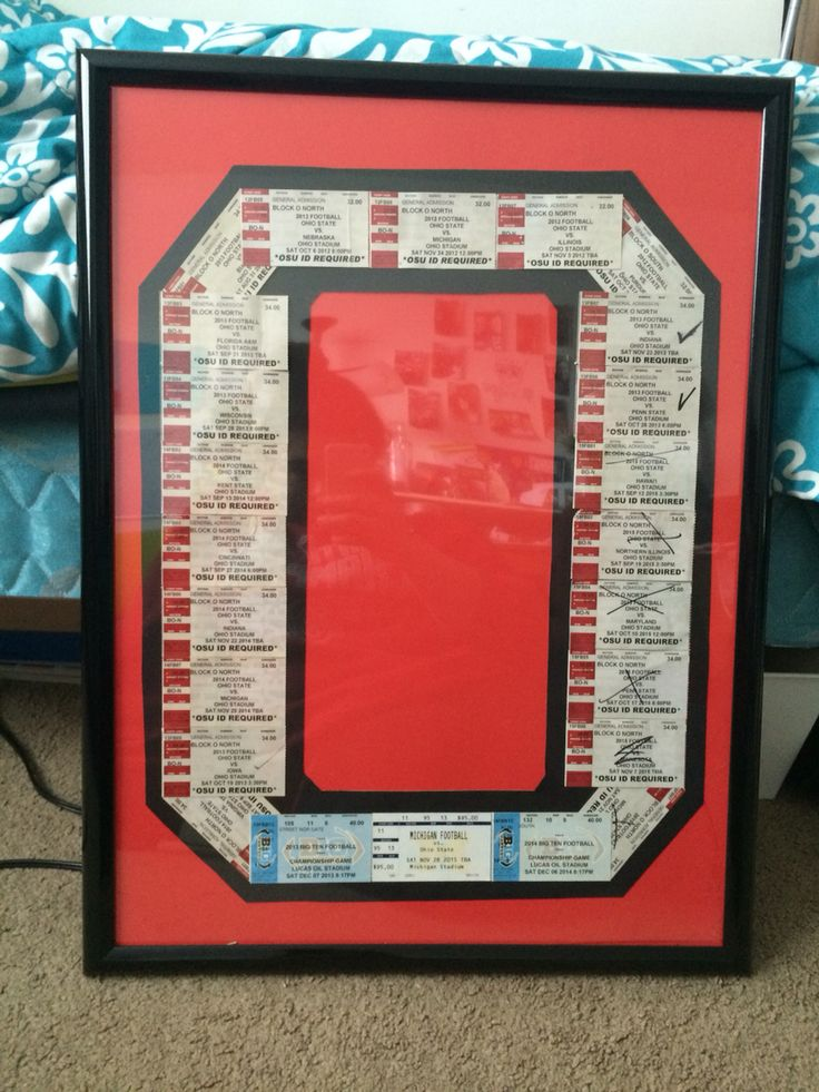 It's not straight but I can fix that later. Might put some pictures in the middle. Super happy with this! All of my football tickets from undergrad at OSU. Go bucks! Ticket display idea