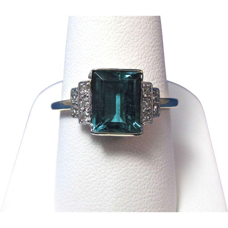 Vintage Art Deco 1920's Tourmaline Vintage Engagement Ring 14K Supernatural Style