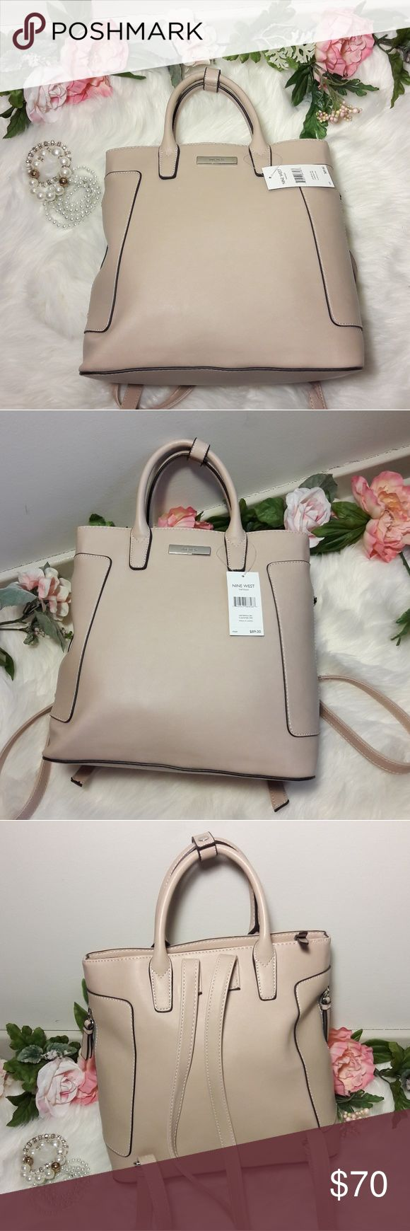 Authentic NWT Nine West Backpack NWT Authentic West Natassa LG Tote Backpack Carrying Handbag Purse.  Brand New, Never used handbag with tags. $89.00 Value  Color: Cashmer  Please be sure to view all images.  Thank you for Looking & Sharing Happy Poshing😄💗 Nine West Bags Backpacks