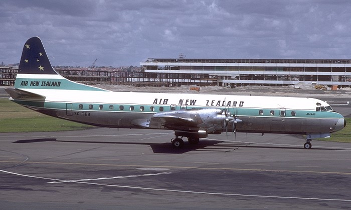 """Air New Zealand Lockheed L-188C Electra ZK-TEB """"Atarau"""" at Sydney-Kingsford Smith, circa September 1968, with the International Terminal still under construction in the background. (Photo: Courtesy of the R.N. Smith Collection)"""