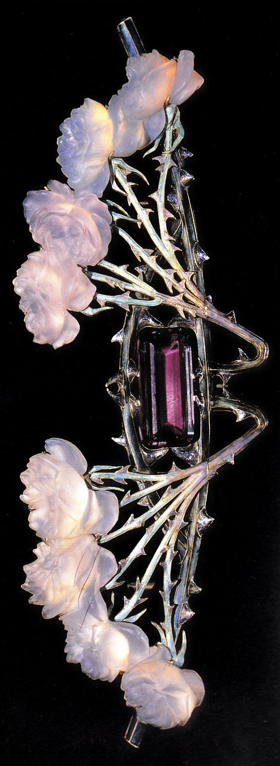 An Art Nouveau 'Rose Stems' brooch-pectoral, by René Lalique, 1904-05. Gold, glass, enamel & amethyst. Source: Cartier, 1899-1949: The Journey of a Style.