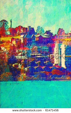 original oil painting of houses along the brisbane river