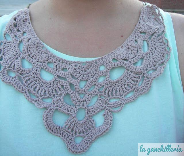 Crocheted bib necklace - use lighter weight yarn, possibility to add beads