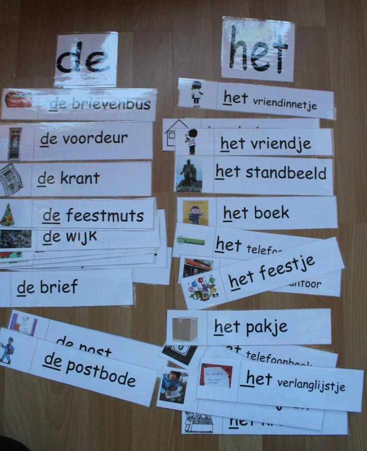 """Maak 2 brievenbussen met daarop de lidwoorden """"de """" en """"het """". waar moeten de volgende woorden in gedaan worden ?"""