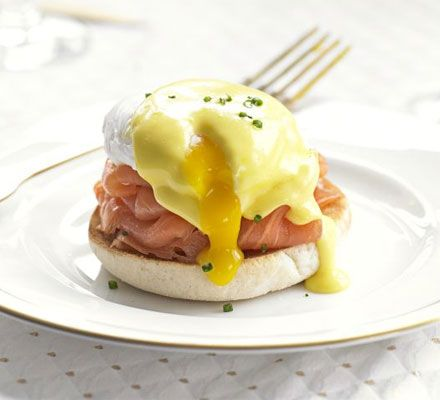 Eggs Benedict with smoked salmon & chives. Get your poaching technique honed and serve up this brunch classic- it's easily-doubled to feed a family or crowd