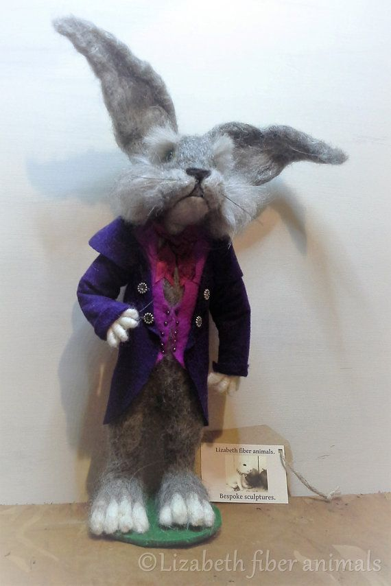 Needle felted March Hare miniature jacket and waist coat