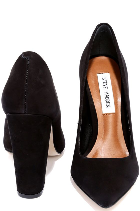 Steve Madden Primpy Black Nubuck Leather Block Heel Pumps at Lulus.com!