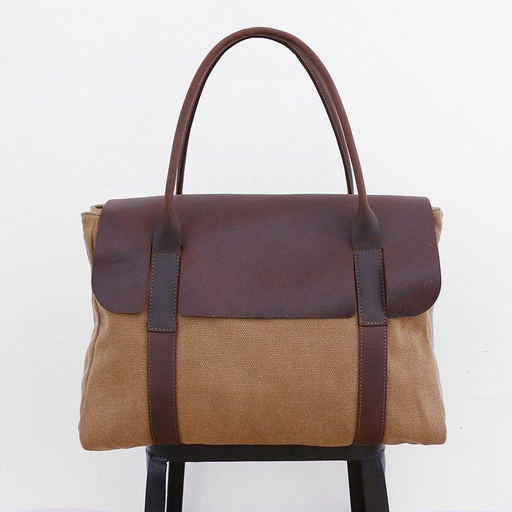 Casual Leather Women Canvas Khaki Handbag