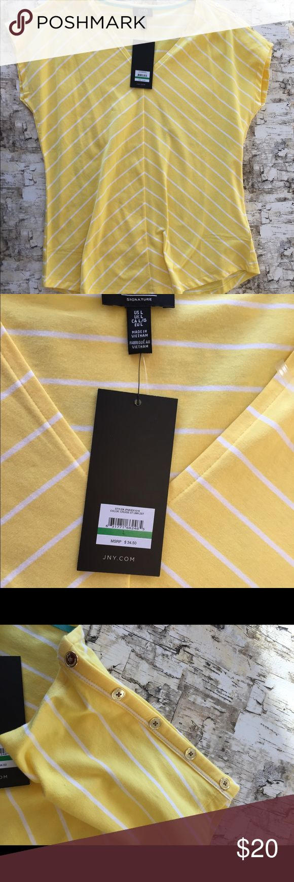 Jones New York tee Yellow and white. Is more of a lemon color vs what pics show. Gold buttons adorn sleeve on one side. New with tags. Available in other sizes too...will update listing with other sizes soon, or please inquire about the size(s) you want.:) Jones New York Tops