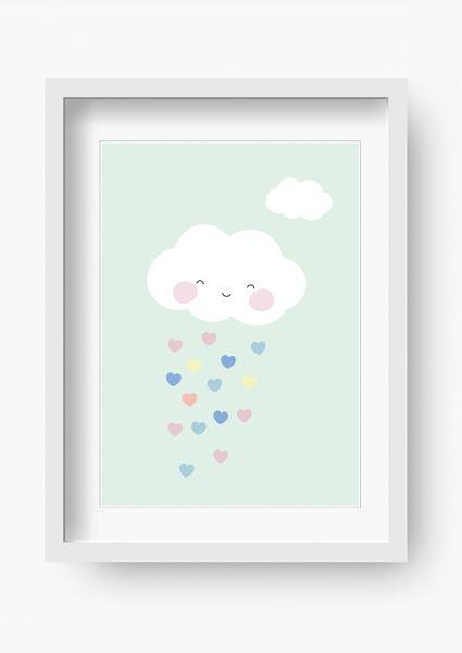 """Wandgestaltung – Kinder Poster """"Wolke Mint"""" (Kinderzimmer Bild) – ein Designerstück von fabeltal bei DaWanda"""