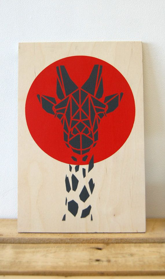 Red Giraffe Art on Plywood, Bright Red Art. Original Art, Stencil Animal, Geometric Art, Origami Giraffe