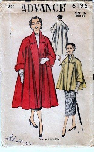 "Vintage 1950s Swing Coat Long and Short Advance 6195 bust 34"" | PenelopeRose - Supplies on ArtFire"