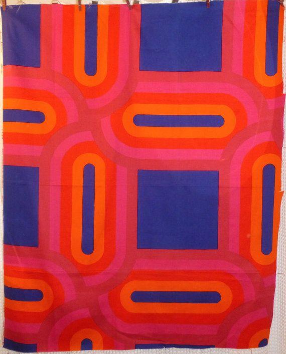 Vintage 1970's FINLAND Tampella OVAALI Cotton Fabric Panel by Marjatta Metsovaara Finnish Scandinavian Material. $60.00, via Etsy.
