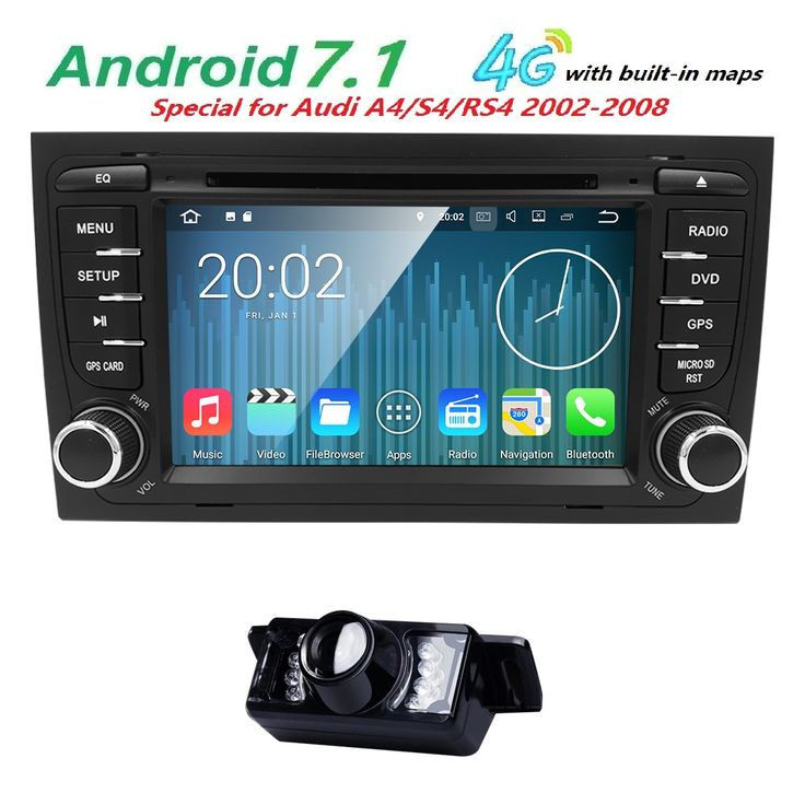 Best Android 7.1 car stereo head unit for Audi A4 2GB RAM car radio GPS player HD BT multimedia system for Audi A4 S4 SWC RDS SD #Affiliate