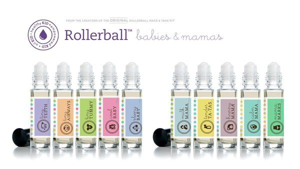 """The Rollerball Make & Take Kit includes blend recipes for  Tiny Teeth Tiny Airways Tiny Tummy Cool Baby Sleepy Baby Milk Mama Tender Ta-Tas Happy Mama Calm Mama Mama Marks The kit includes the following printed class materials for up to 10 people: 20 Postcard Invitations 10 Full sets of waterproof 10ml rollerball labels 10 Recipe sheets 2 Giveaway sheets which include 5 labels of each recipe BONUS LABELS! """"Tushy Spray"""" for 15ml bottle A total of 164 labels in each kit!"""