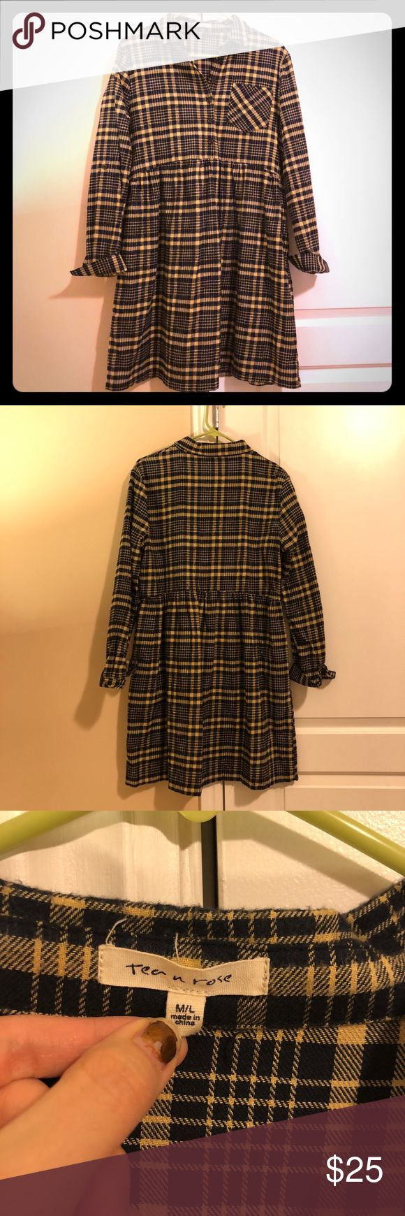 TEA n ROSE • Flannel Shirt Dress Darling and cozy flannel shirt dress, purchased from Shop Ruche. Size M/L. NWOT. Tan and an almost black navy... with pockets!!! Dresses