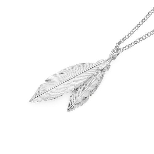 Silver Double Feather Pendant   Goldmark Australia