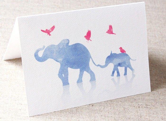 Big and Small Elephant Greeting Card - Watercolour - Birthday - Baby Shower | Bella Stationery Studio | madeit.com.au